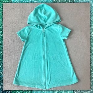 OP Cover Up Hooded Aqua Terrycloth Girls